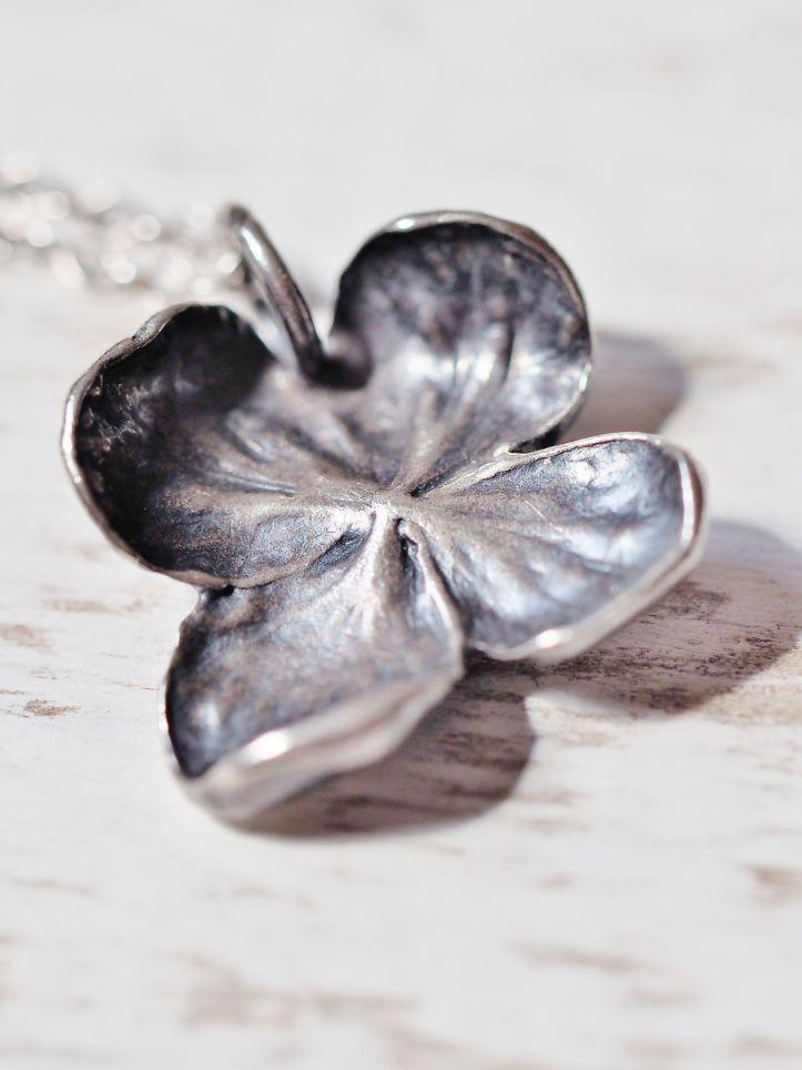 Handmade silver hydrangea flower pendant