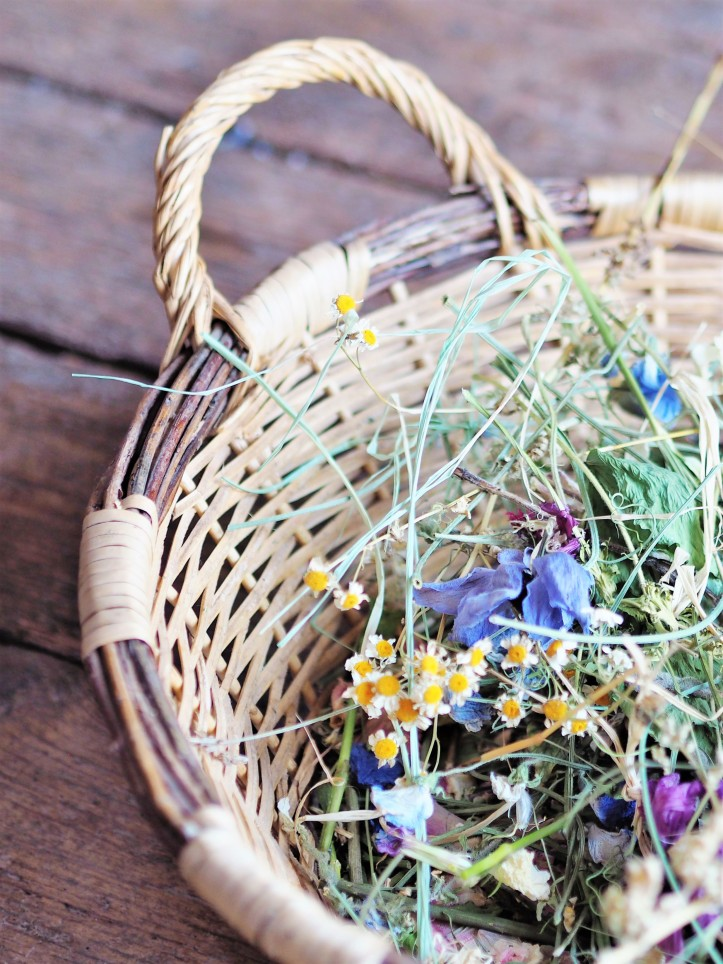The prettiest basket full of discarded flower stems