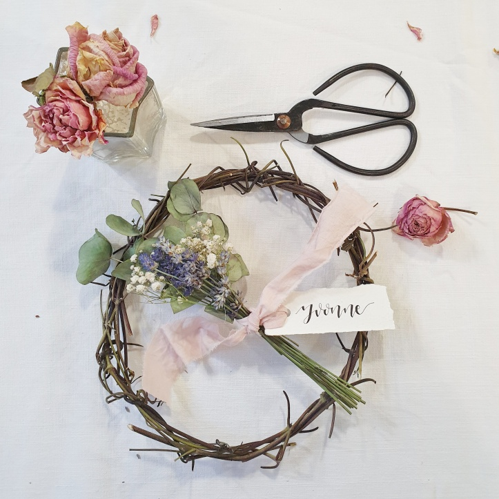 Posy of dried flowers