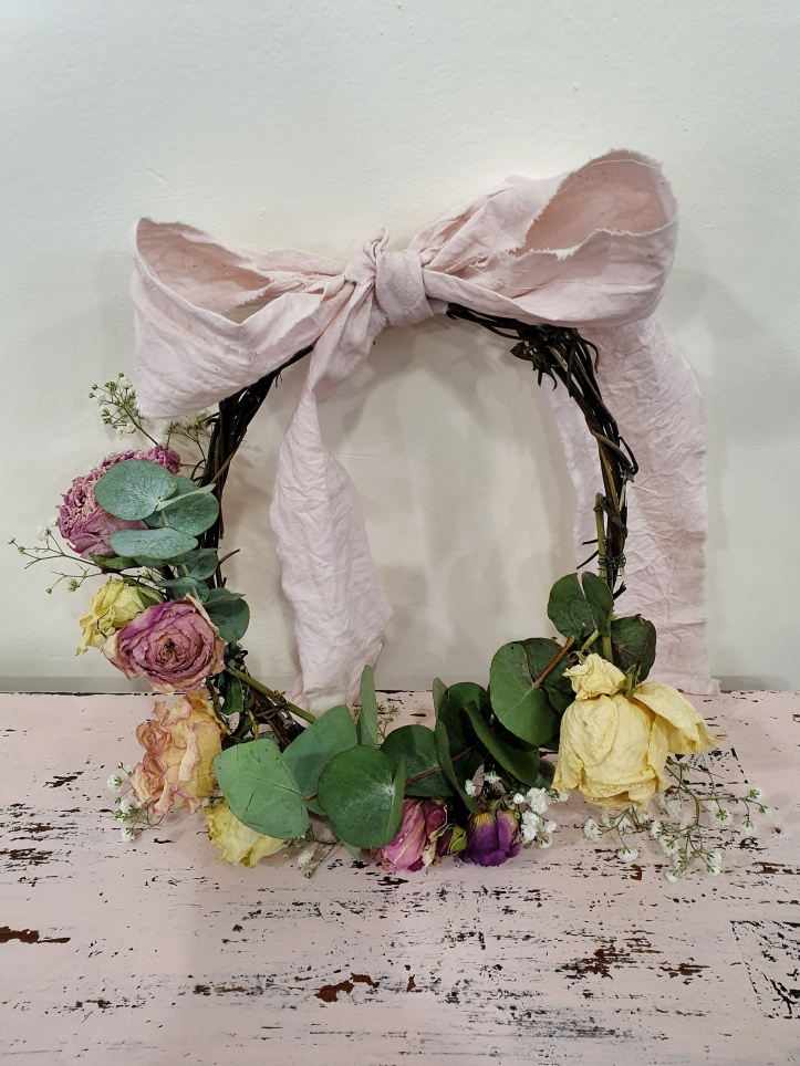 Wreath with Dried Roses and Peonies