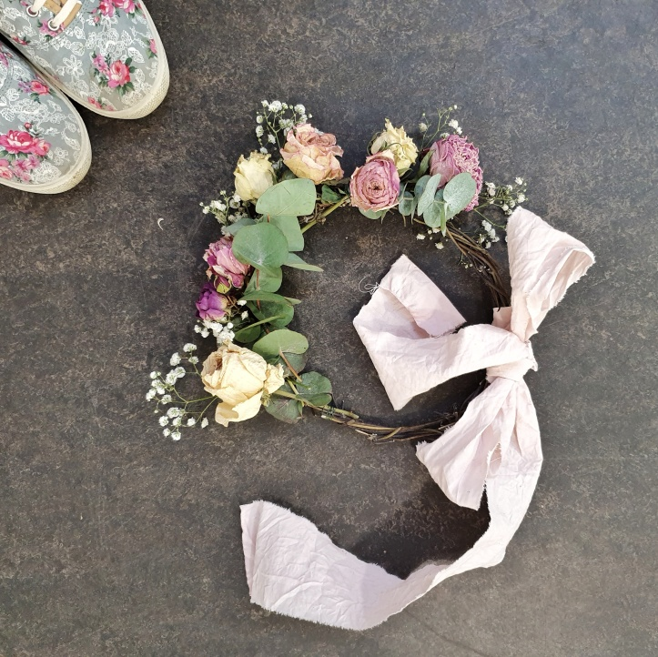Dried roses and Naturally Dyed Ribbon