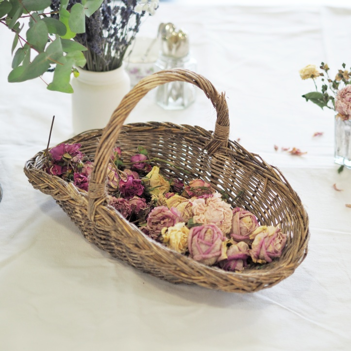 Basket of dried roses