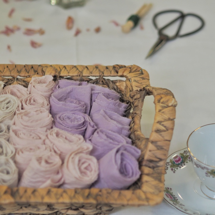 Basket of natural dyed ribbons